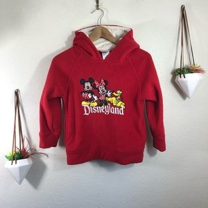 Disneyland Mickey Minnie Pluto red fleece hoodie
